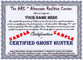 Ghost Hunter Training Certificate