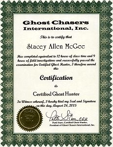 Stacey Allen McGee ~ Ghost Hunter Certificate